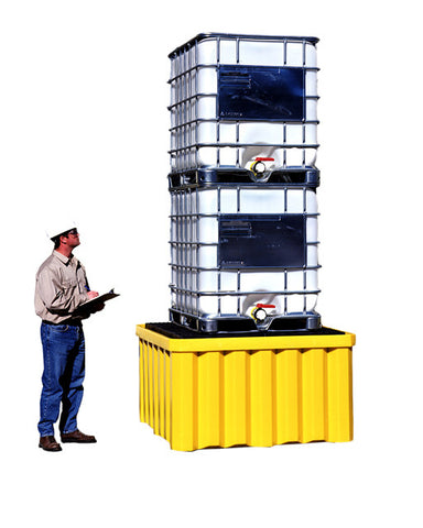 UltraTech 1058 Polyethylene Ultra-IBC Spill Pallet with Drain, 16000 lbs Capacity, 5 Year Warranty, Yellow