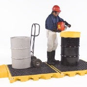 1072 Polyethylene P4 4-Drum Ultra-Spill Deck, 6000 lbs Capacity, 5 Year Warranty, Yellow
