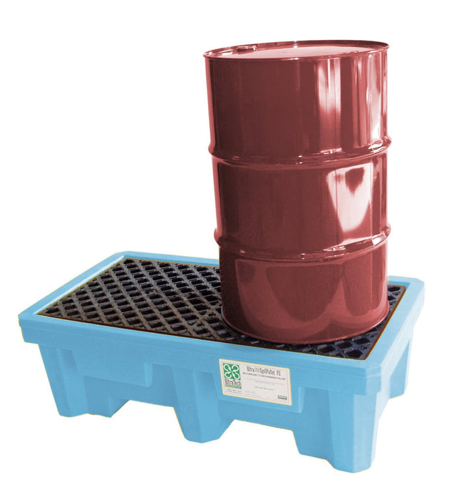 1212 P2 Fluorinated 2-Drum Ultra-Spill Pallet, 3000 lbs Capacity, 5 Year Warranty, Light Blue