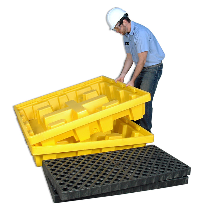 1231 Ultra Spill Pallet, Nestable 4-Drum With Drain, 6,000lb Load