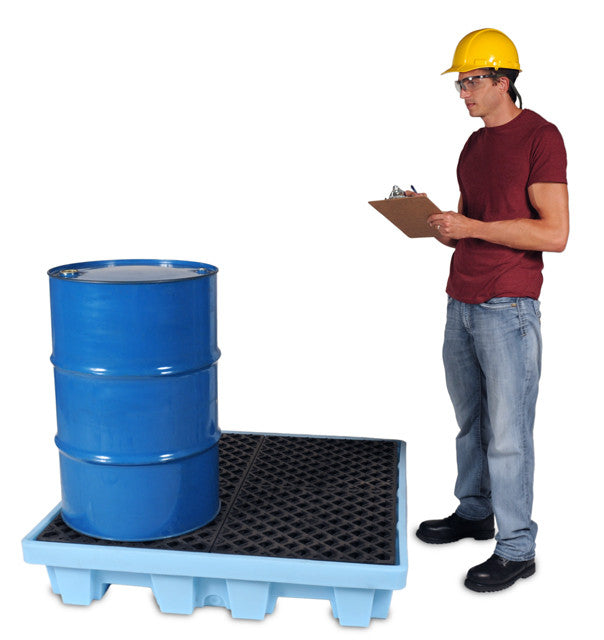 1233 P4 Fluorinated 4-Drum Ultra-Spill Pallet, 6000 lbs Capacity, 5 Year Warranty, Light Blue