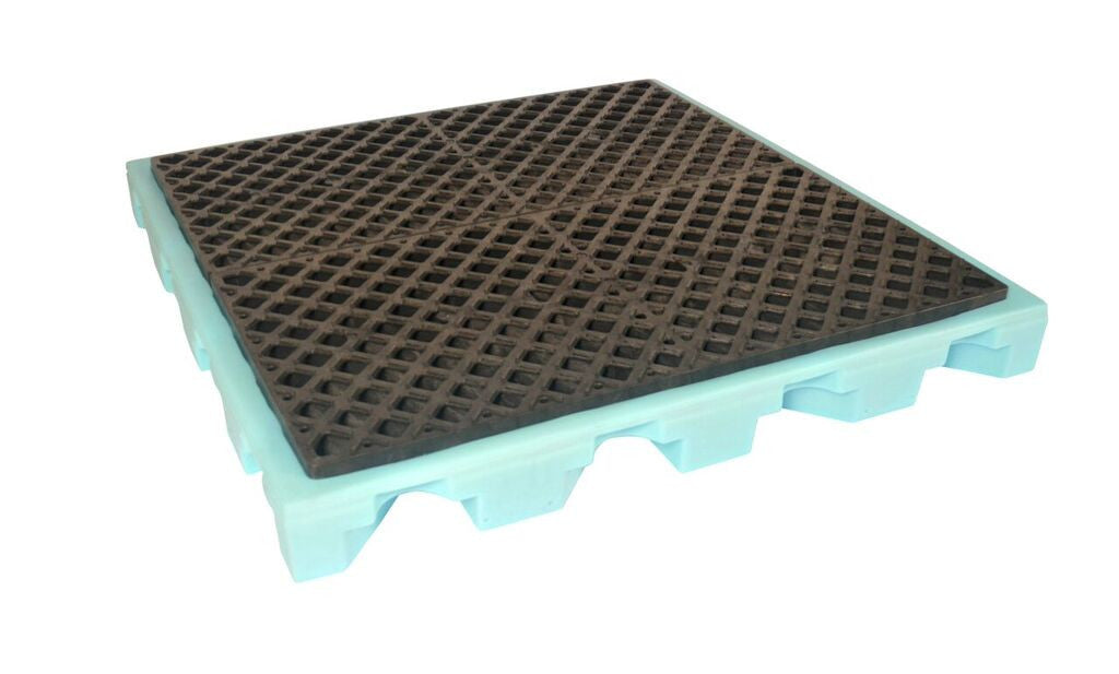 1325 Fluorinated P4 Ultra-Spill Deck with 4-Drum, 6000 lbs Capacity, 5 Year Warranty, Light Blue