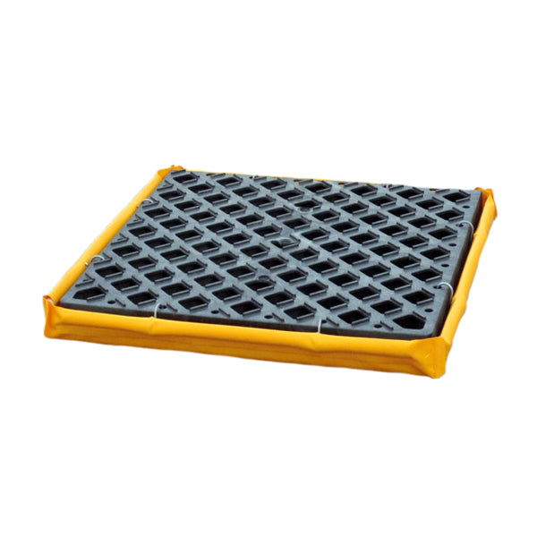 "1350 Polyethylene P1 Flexible 1-Drum Ultra-Spill Deck, 1500 lbs Capacity, 24"" Length x 24"" Width x 2-1/2"" Height, Yellow"