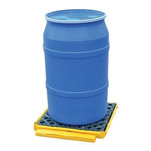 "UltraTech 1360 Polyethylene P1 Flexible 1-Drum Ultra-Spill Deck Bladder System, 1500 lbs Capacity, 82"" Length x 66"" Width x 5"" Height, Yellow"