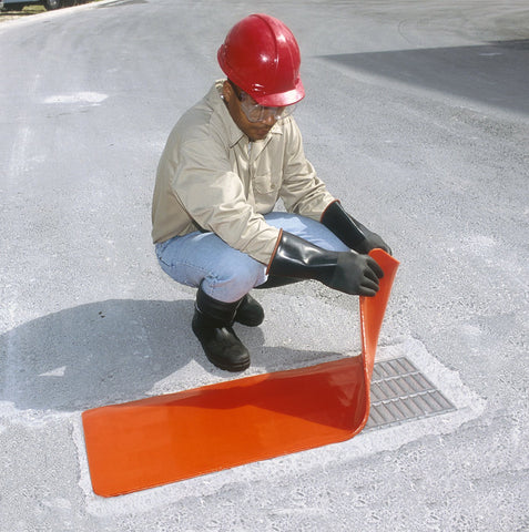"UltraTech 2126 Ultra-Drain Seal Drain Cover, Orange Urethane, 18"" x 18"""
