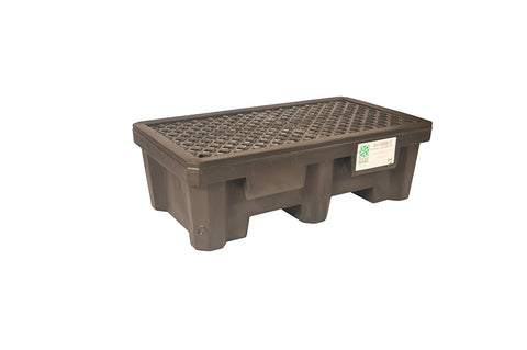 UltraTech 2504 Recycled Polyethylene P2 2-Drum Ultra-Spill Pallet, 1500 lbs Capacity, 5 Year Warranty, Black