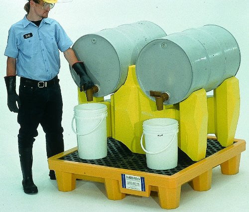 2383 Polyethylene 2-Drum Rack Containment System, 1500 lbs Capacity, 5 Year Warranty, Yellow