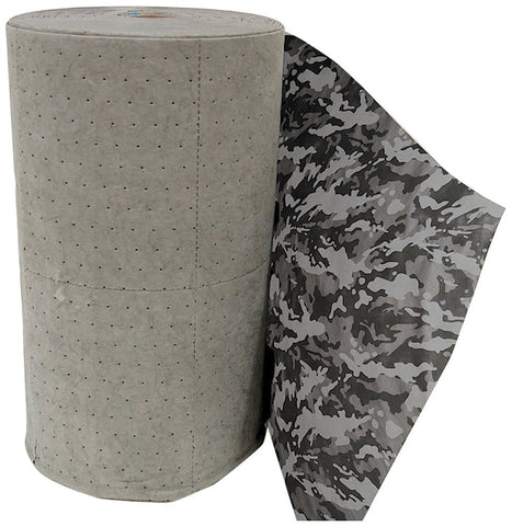 "Spilfyter DS-93 Universal Sorbent Spilhyder Camo Medium Weight Roll with Printed Coverstock, 150' Length x 32"" Width, Gray"