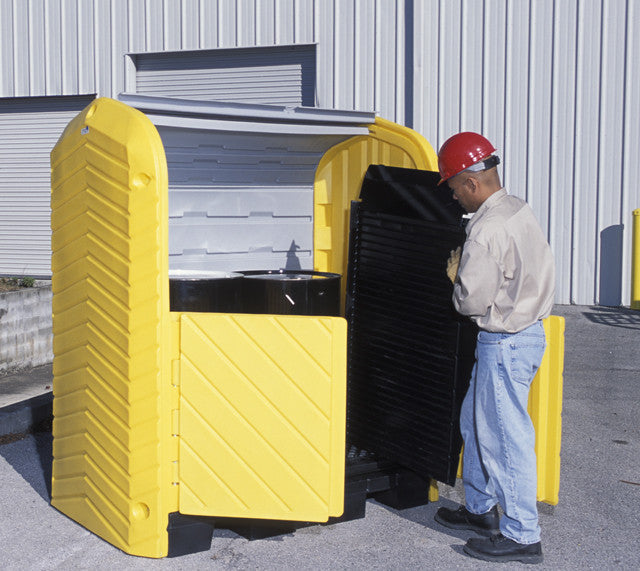 9613 Ultra-Hard Top 2-Drum P2 Plus Spill Pallet with Drain 4,500 lbs.  66 gallons capacity