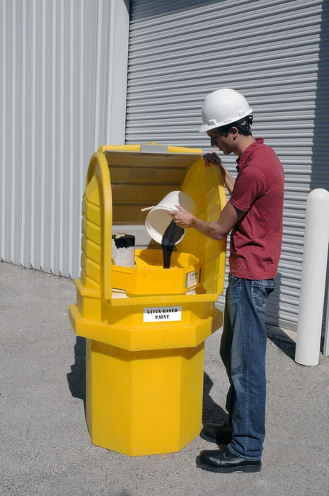 "9670 Polyethylene Paint Waste Collection Center, 800 lbs Load Capacity, 36"" Length x 36"" Width x 66"" Height"