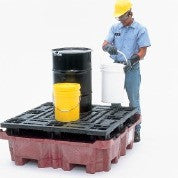 UltraTech 0802 Polyethylene Ultra-Spill King Drum Pallet and Sump with Drain, 6500 lbs Capacity, 5 Year Warranty