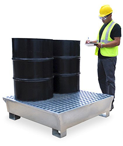 1182 Ultra-Steel Spill Containment Pallet, 4 Drum, Grey