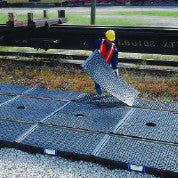 9596 Polyethylene 9' Railroad Spill Containment System, 2 Center and 4 Side Pan with Covers