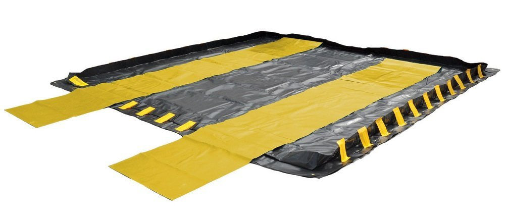 "8344 2 Piece Reinforced PVC Track Belt Set, 66' Length x 30"" Width x 1/16"" Height, Yellow/Black, For Economy Containment Berms"