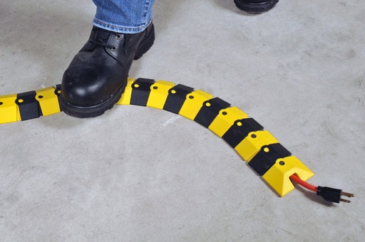 "1820 Ultra-Sidewinder Cable Protector, Bulk Box with Two Endcaps, 294"" x 3"" x 3/4"", Black and Yellow, Small"