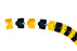 1801 Ultra-Sidewinder Cable Protection System, 1' Extension, 12 Length x 3 Width x 3/4 Height, Black and Yellow, Small