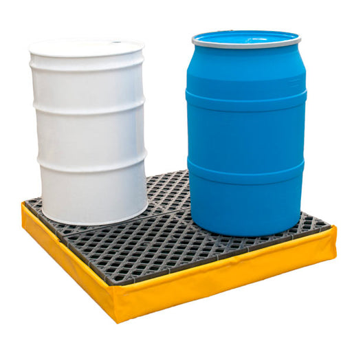 1346 Polyethylene P4 Flexible 4-Drum Ultra-Spill Pallet with Drain, 2400 lbs Capacity, 5 Year Warranty, Yellow