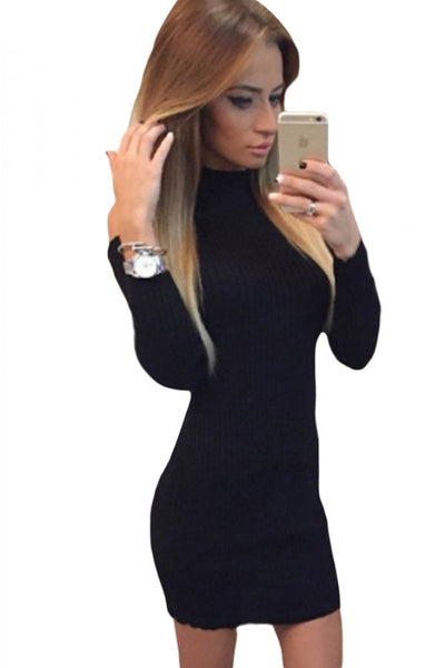 Black Mock Neck Cold Shoulder Knit Long Sleeve Dress