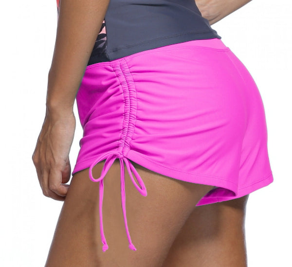 Pink Ruched Side Swim Shorts