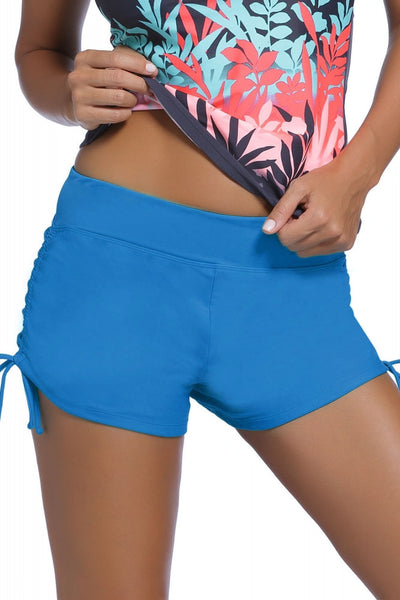 Blue Ruched Side Swim Shorts