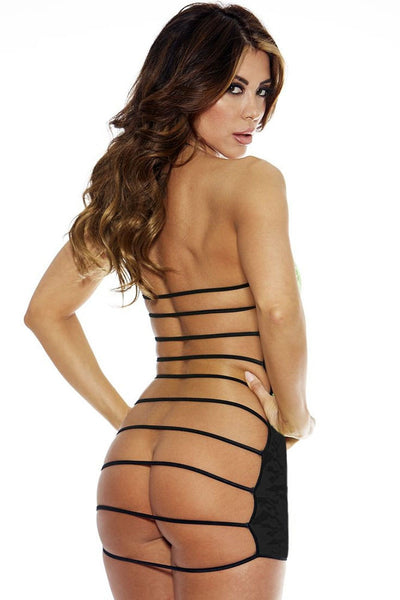Black sheer lace open back strappy chemise