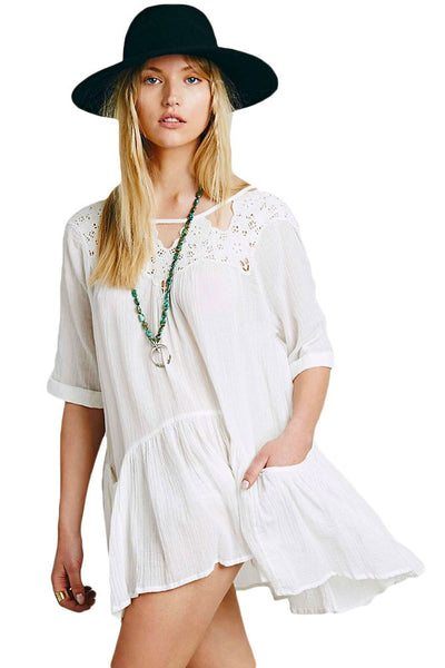 White Loose Fitting Crepe Beach Dress (limited stock, be quick!)