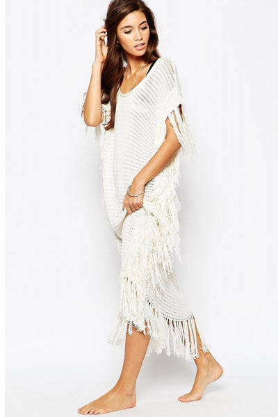 White Tassel trim knitted Beach Kaftan (Limited stocks, be quick!)