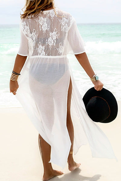 White Chiffon See-Through high slit Cover-Up (limited stock, be quick!)