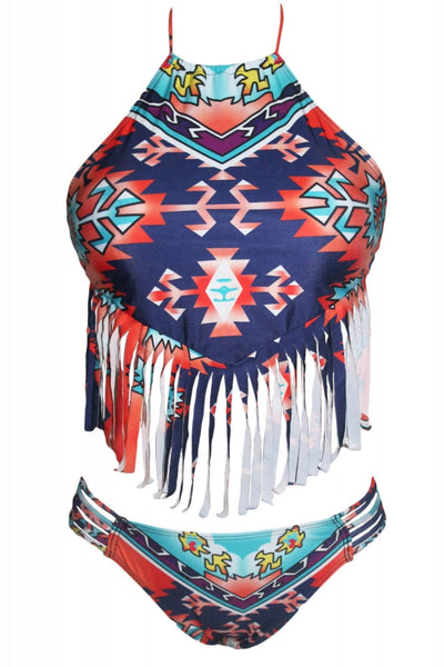Tribal fringed halter crop top with bikini bottom.