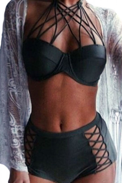 Black strappy push-up high waist bikini