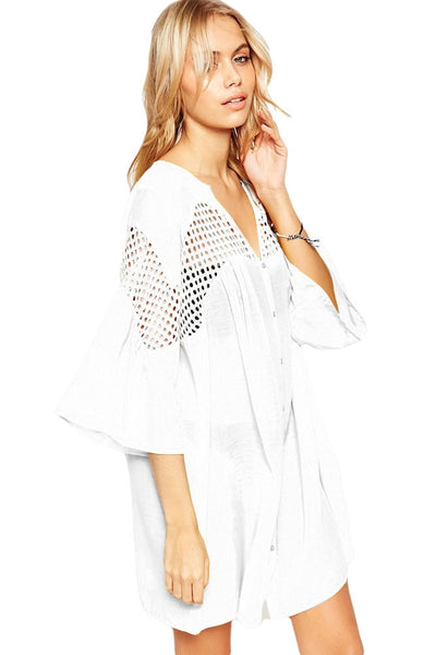 White V Neck Crochet Hollow-out Button Front Smock Dress