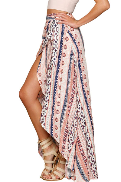 Ethnic Print Wrapped Beach Skirt