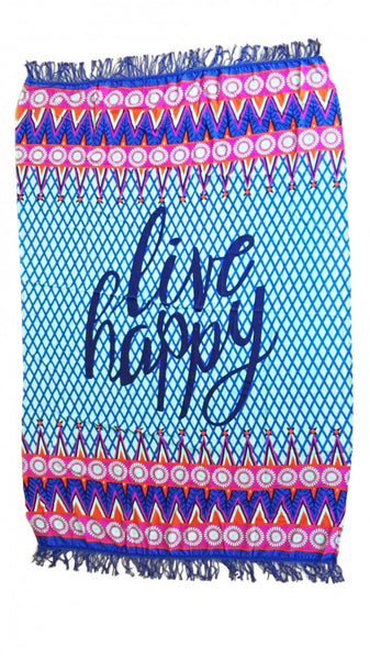 """Live Happy"" Beach Blanket"
