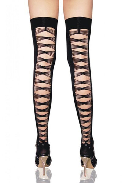 Opaque thigh highs with criss cross back seam