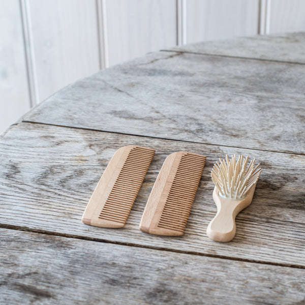 Wooden Comb and Travel Brush