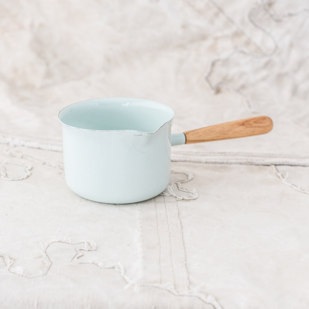 Enamel Saucepan with Wooden Handle - The Lost + Found Department