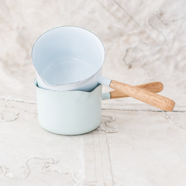 Enamel Saucepan with Wooden Handle