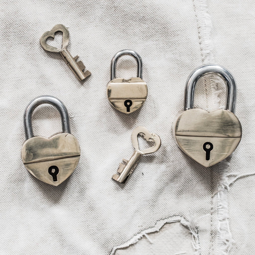 Brass Heart Shaped Lock
