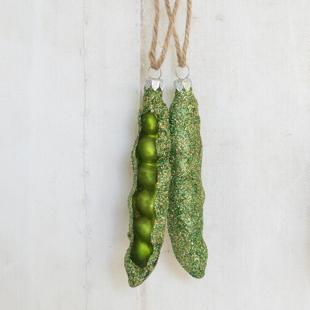 Christmas Decorations - Glitter Peas in the Pod