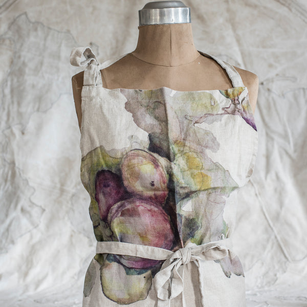 Fig Watercolour Linen Apron