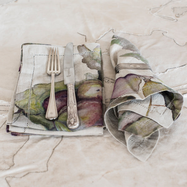 Serviettes - Linen Fig Watercolour   - Set of 4 - The Lost + Found Department