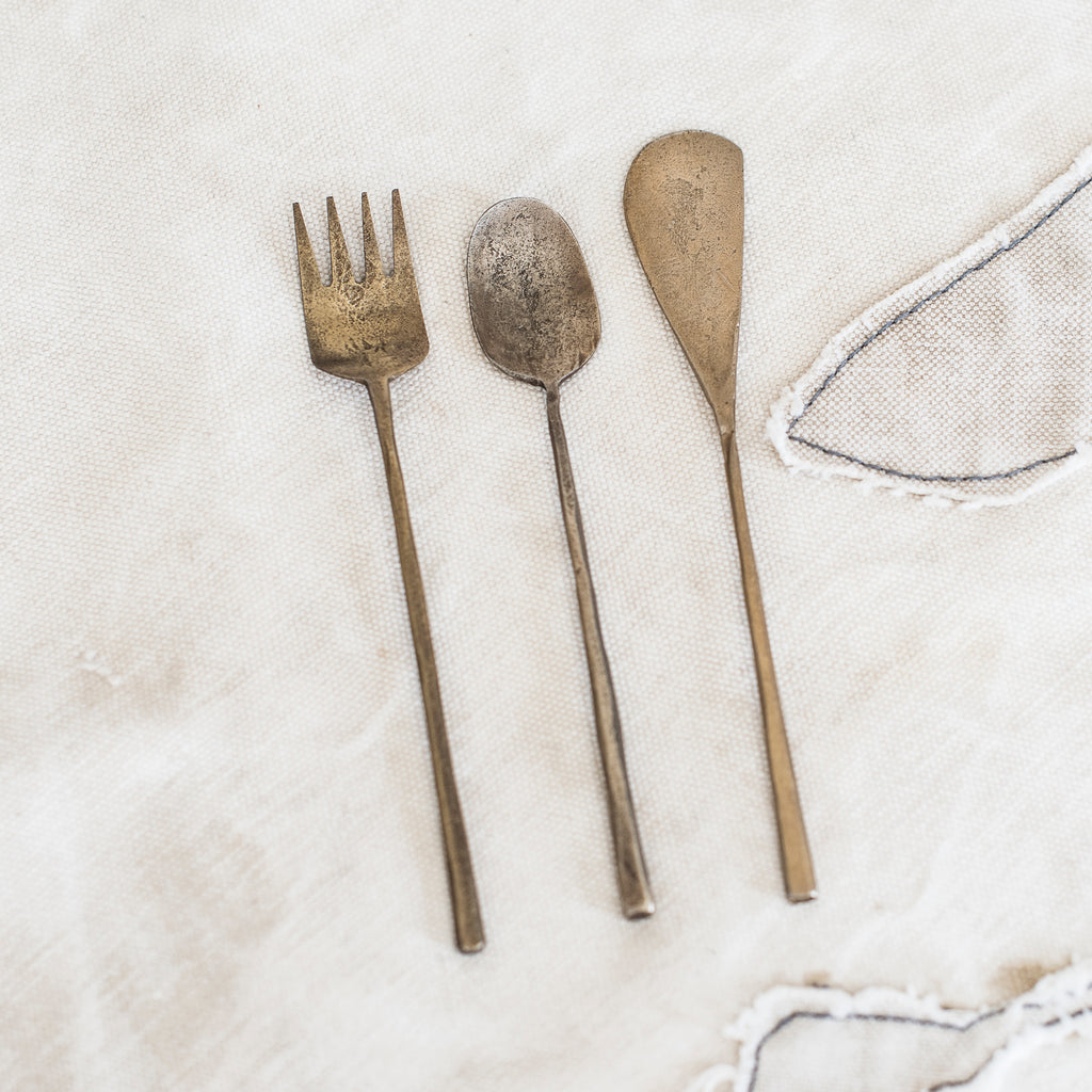 Hand Beaten Teeny Cutlery in Antiqued or Bronze Finish