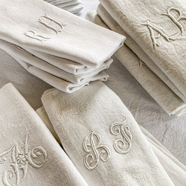French Monogrammed Vintage Serviettes - The Lost + Found Department