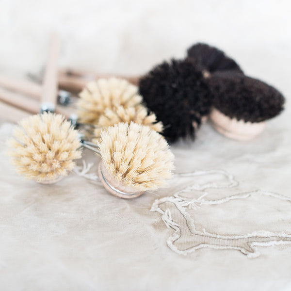 wooden natural bristle dish brush