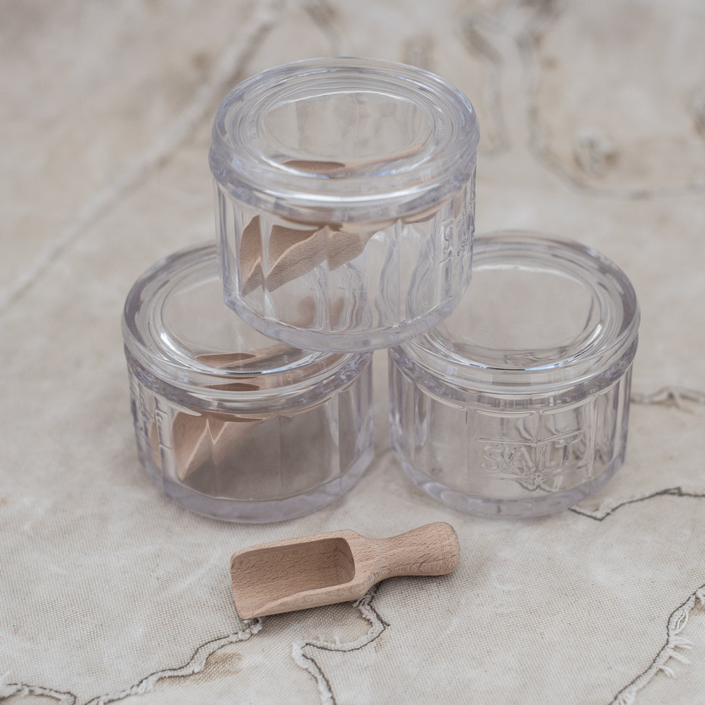Glass Salt Dish with Tiny Wooden Scoop