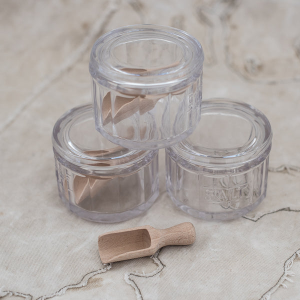 Glass Salt Dish with Tiny Wooden Scoop - The Lost + Found Department