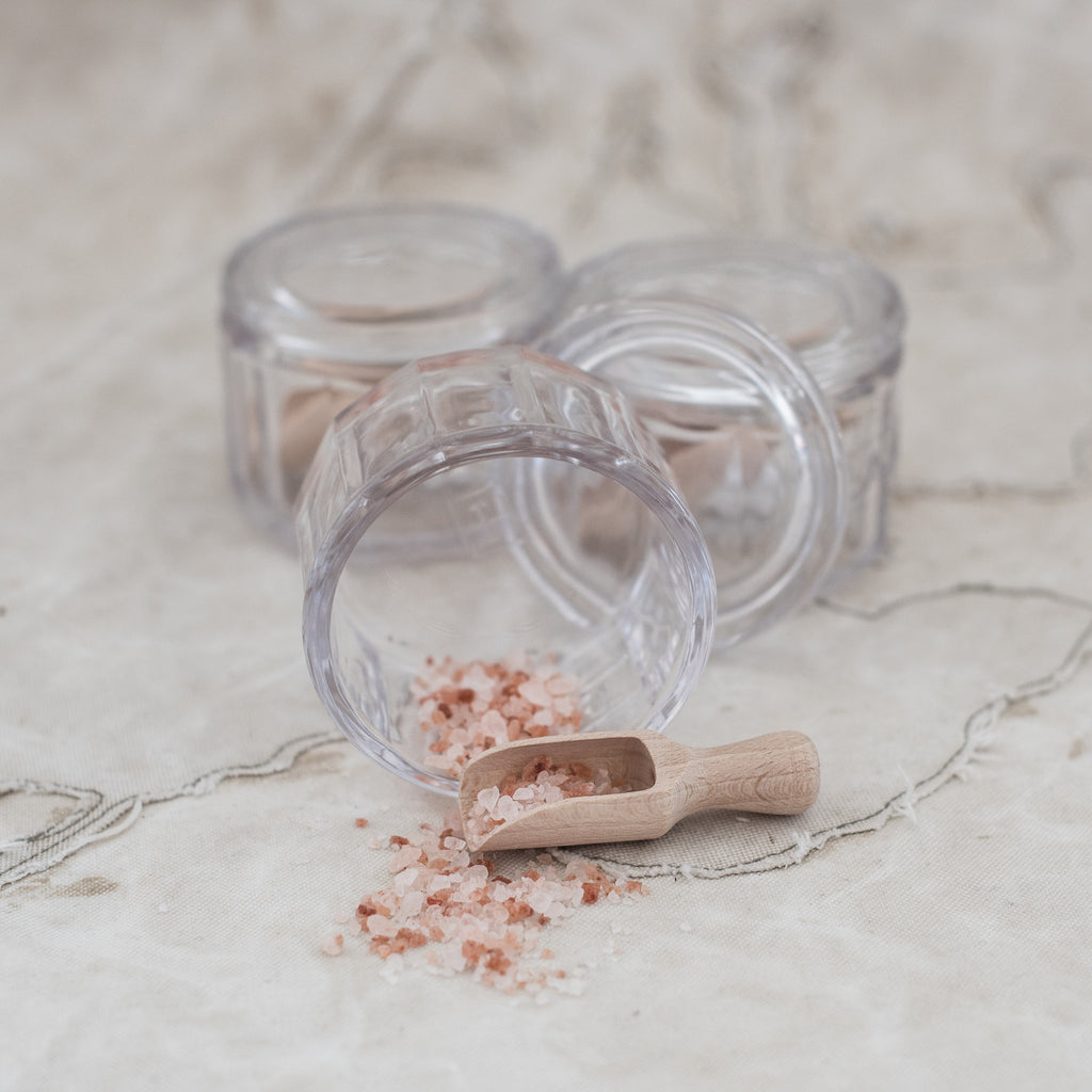 * Glass Salt Dish with Tiny Wooden Scoop - The Lost + Found Department
