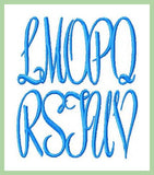 Emily Monogram Font with 4 Frames 1,2,3 and 4 inch sizes