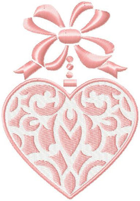 Heart Bow Valentine Embroidery Design