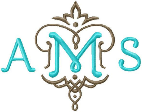 "Bluebell Vintage Monogram Font - Smaller Sizes 2,3,4"" sizes."
